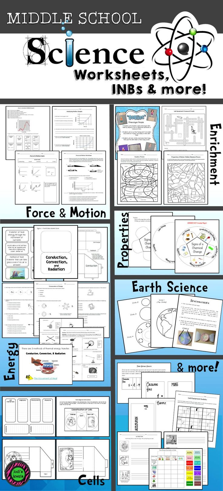 Visit Jodi's Jewels for all of your Middle School Science worksheets, interactive notebooks, PowerPoints, and much, much more!