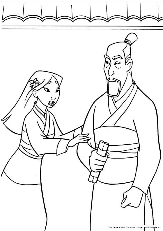 Mulan Begging To Dad Coloring Pages Drawing Disney