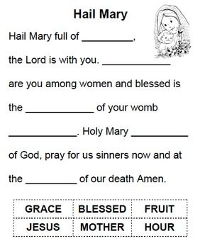 Hail Mary - cut & paste.Simple cut and paste to learn key words in the prayer to the Blessed Mother.