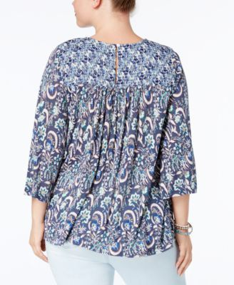 Lucky Brand Trendy Plus Size Smocked Top - Blue 1X