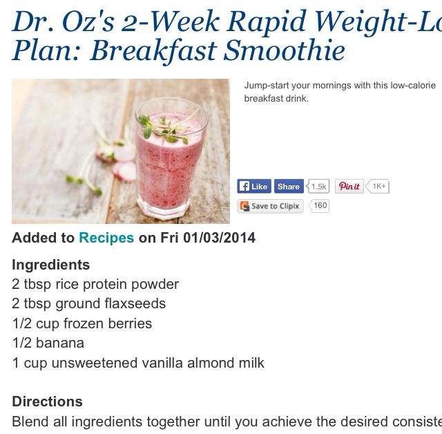 dr oz weight loss diet recipes