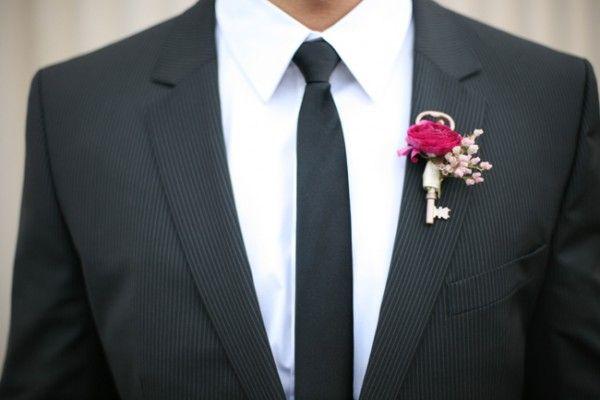 DIY Boutonnieres Using Vintage Skeleton Keys | Something Borrowed Wedding BlogSomething Borrowed Wedding Blog