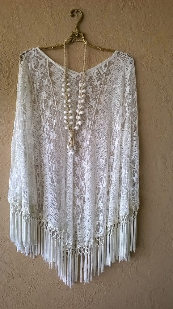 Image of Fee People Romantic Beach walk lace and fringe Gypsy Poncho