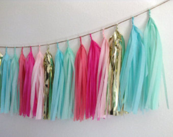 Coral Pink Mint Aqua and Gold tissue paper tassel garland
