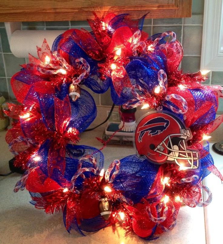 Lighted Buffalo Bills deco mesh wreath.... Custom made!