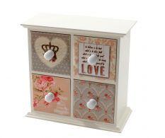 Cutie cu 4 sertare pentru bijuterii Vintage Love, shabby chic