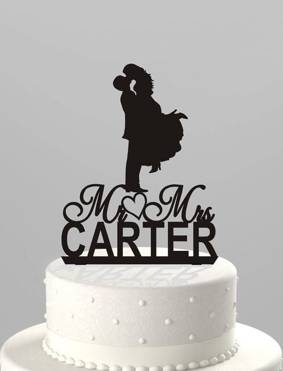 Wedding Cake Topper Silhouette Couple Mr Amp Mrs Personalized With Last Name Acrylic Cake Topper