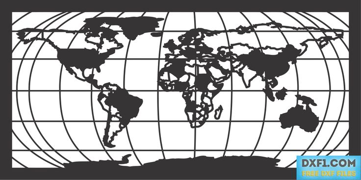 world map with parallel and meridians vector dxf free Map of the - new world map cad free