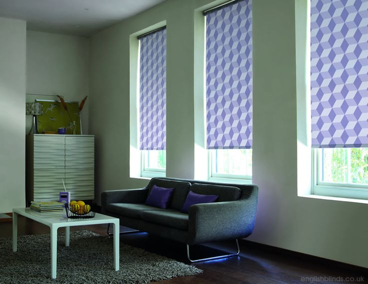Contemporary bluish purple geometric patterned roller blinds