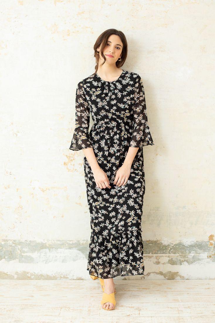 a7a99a754 HELGA VESTIDO LARGO FLORES NEGRO Vestido largo mujer de manga 3 4 color  negro con