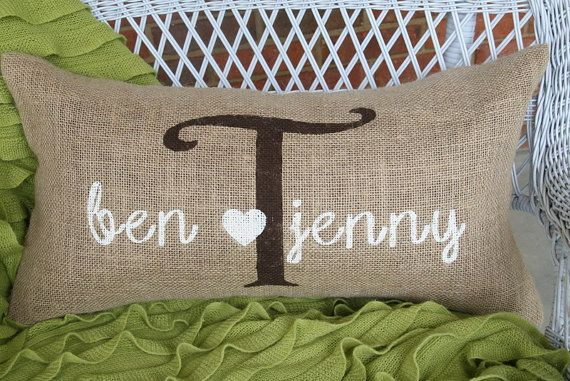 Personalized Burlap Pillow 24 x 12 made to by OgeecheeLimeDesigns