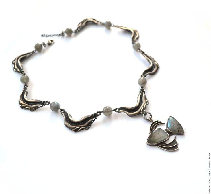 Купить Серебряное колье с лабрадоритом Глубина (винтажное серебро 925) - колье из серебра купить