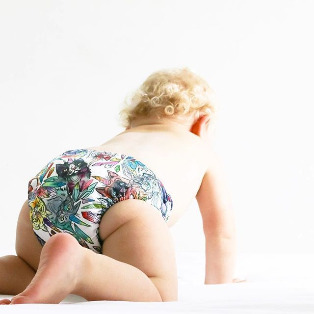 Hello Uni Kitties! Another stunning Designer Bums MCN  ART POP nappy hand illustrated by @patternsabuzz . You havent experienced function and style until youve tried Designer Bums Art Pop Nappies. Trim fitting super absorbent easy to use cloth Nappies that look great and fit perfectly under clothes
