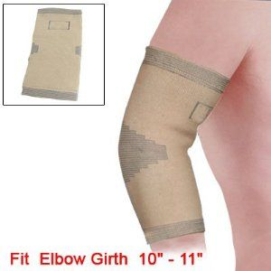 """Como Beige Elastic Pullover Elbow Band Support Brace Sz M by Como. $4.79. Product Name : Elbow Support; Size : M. Package Content : 1 xElbow Support. Net Weight : 38g. Material : Cotton, Spandex, Nylon; Color : Beige. Flat Size : 20.5 x 11.5cm/ 8.1"""" x 4.5""""(L * W); Fit for Elbow Girth : 25 - 28cm/ 10"""" - 11"""". Please check your measurements to make sure the item fits before ordering. Beige color, striped and pullover design, elastic material made the soft and comfy el..."""