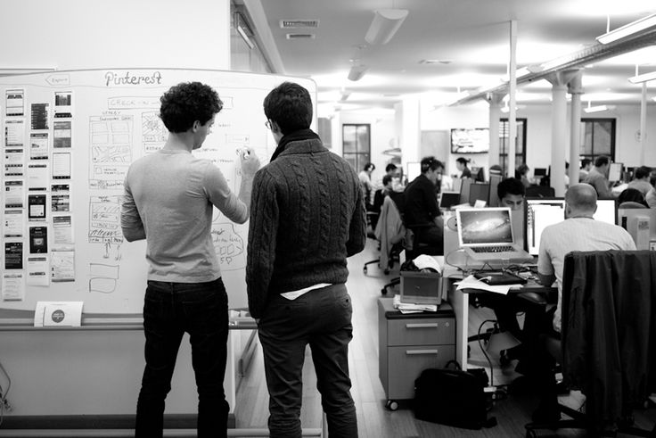 real pinterest in foursquares HQ, from mari sheibley's blog (foursquares' designer)