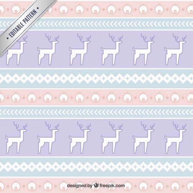 Free vector Christmas reindeers pattern in ethnic style #33920