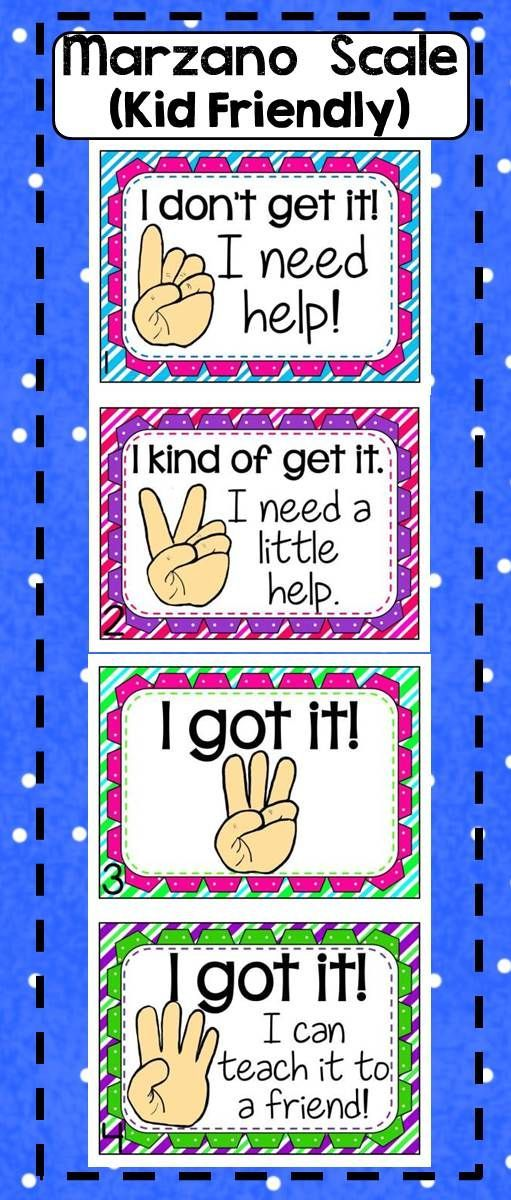 This Marzano Scale is perfect for the little ones! It's cute, and simple to understand. Posters and bookmarks are included. Matches my hand signals clipart :). Just print, laminate, and post. Your administrators will love that you have a Marzano Scale pos