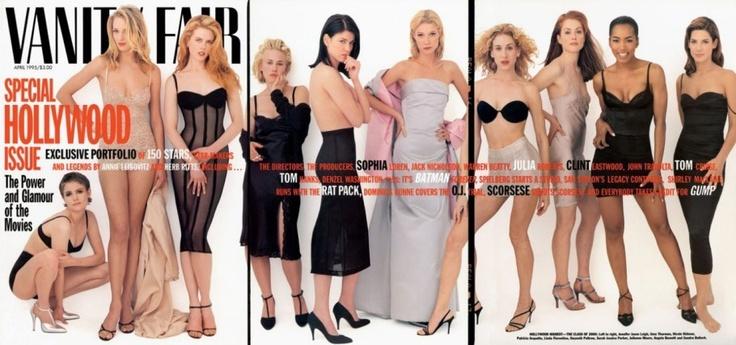 Annie Leibovitz Iconic Works ... April 1995  From left: Jennifer Jason Leigh, Uma Thurman, Nicole Kidman, Patricia Arquette, Linda Fiorentino, Gwyneth Paltrow, Sarah Jessica Parker, Julianne Moore, Angela Bassett, and Sandra Bullock.