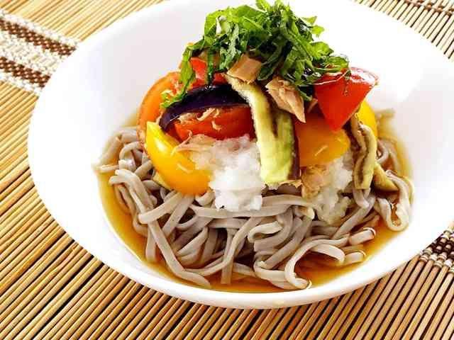 さっぱり☆ナスとトマトのツナおろし蕎麦の画像