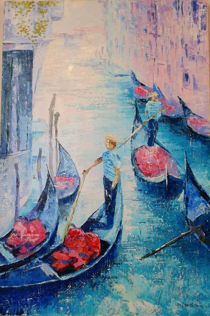 """Painting """" Channels of Venice""""  40x60 сm   $199  #painting #art # design #venice #picture #water #summer #gondola #olio #nature"""