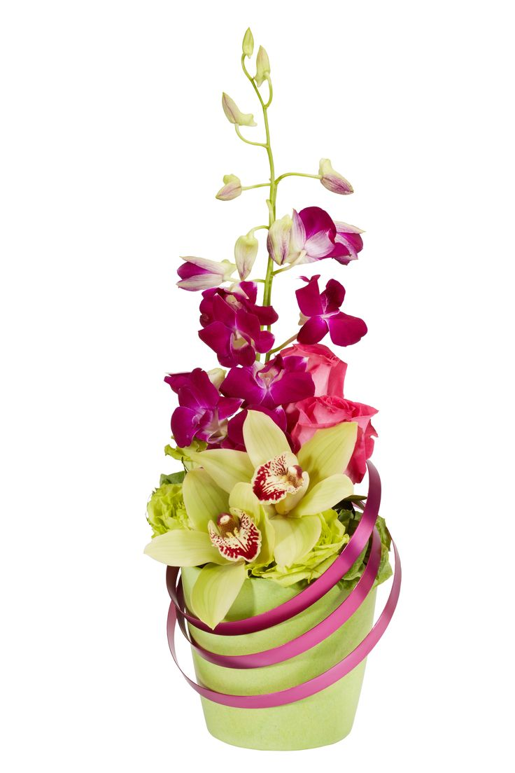 Unconventional flowers and color palette make this Valentine's Day arrangement a show-stopper. Pair boldly colored Flat Wire and an ECOssential Container with orchids for an irresistible look.