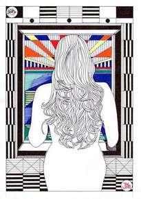Ella espera en la ventana. Está realizada en papel y tinta. Dos elementos básicos del dibujo. Estos esbozos detallados, representan el estudio anterior a la ejecución de obras pictóricas, artísticas y arquitectónicas, según el caso. El artista representa en ellas la geometría implícita en todo lo que nos rodea.