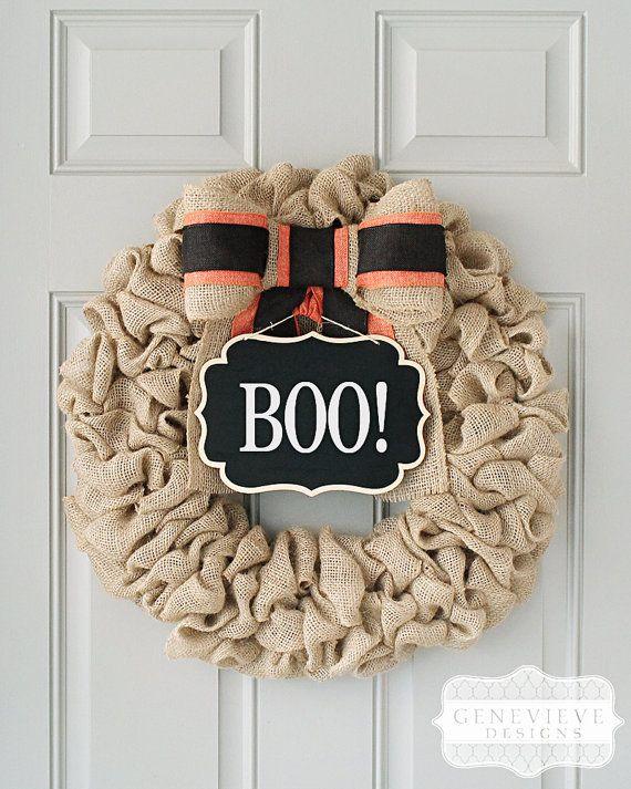 Halloween Wreath, Boo Sign, Chalkboard Wreath, Burlap Fall Front Door Wreaths, Front Door Decor, Fall Decor, Interchangeable Bow™