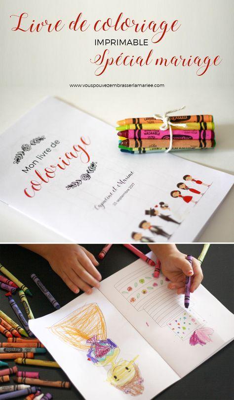 Idée de génie ! Un livre de coloriage sur le thème du mariage, à imprimer pour occuper les enfants pendant la soirée. J'adore !