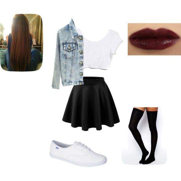vintage chic: vintage acid wash denim jacket, black skater skirt, white keds, black thigh high socks, dark plum lipstick, straight hair, white crop top