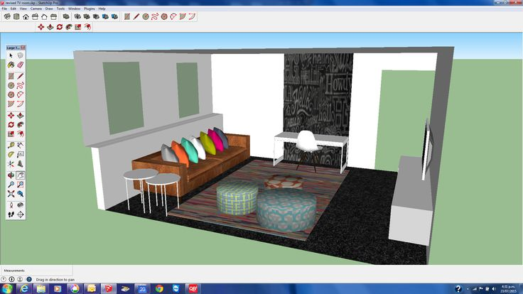 SketchUP second living / TV room