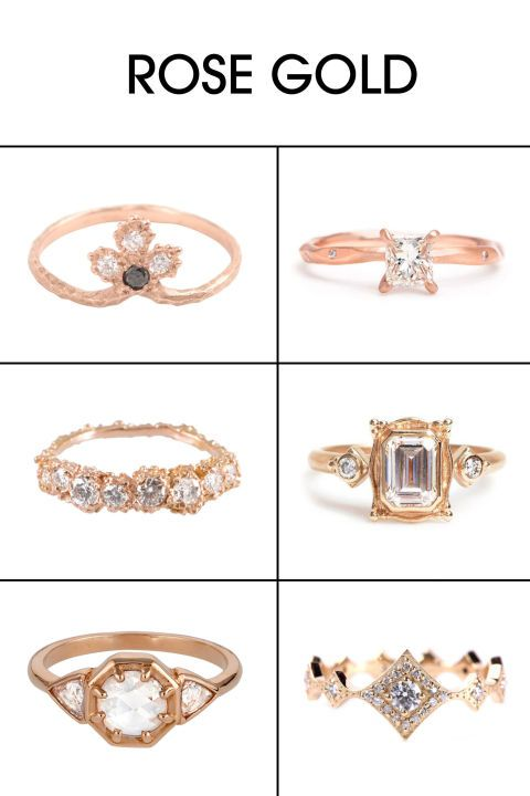 """It's always felt like we have two choices in ring color: Silver or yellow gold. But rose gold makes for a lovely alternative. """"Rose gold is really romantic and modern, yet classic, all at once,"""" notes Plessner. The color also makes diamonds really pop, since it's a slightly deeper tone than traditional yellow."""