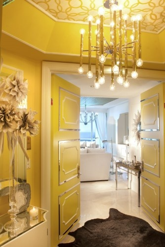Modern entry by DKOR Interiors Inc.- Interior Designers Miami, FL: The Doors, Yellow Rooms, Lights Fixtures, Dkor Interiors, Doors Design, Hollywood Glamour, Design Interiors, Interiors Design, Hollywood Regency