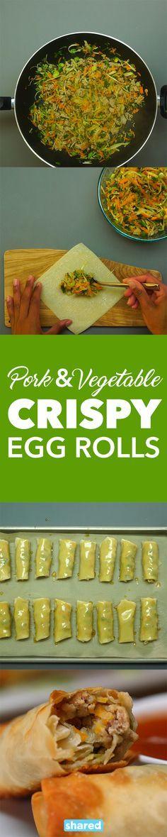 Pork and Vegetable Crispy Baked Egg Rolls