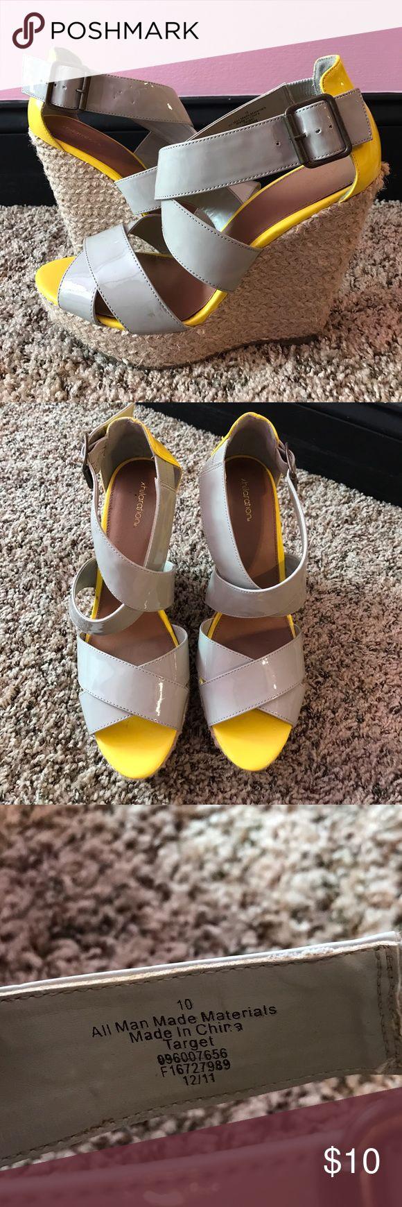 Grey and yellow wedges sz10 Grey and yellow wedge with straw wedge heel! Xhilaration Shoes Wedges
