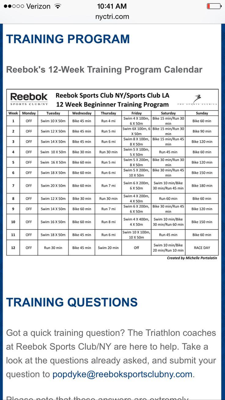 NYC Triathlon training sponsored by Reebok