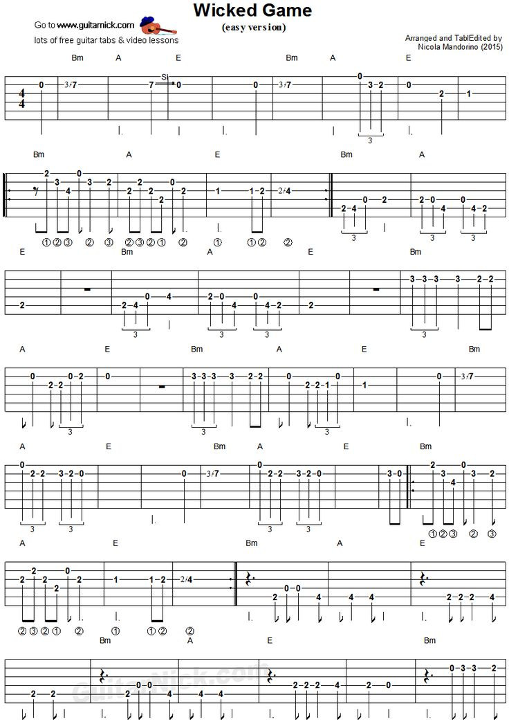 wicked game easy guitar tablature 1 guitar stuff pinterest easy guitar tablature and. Black Bedroom Furniture Sets. Home Design Ideas