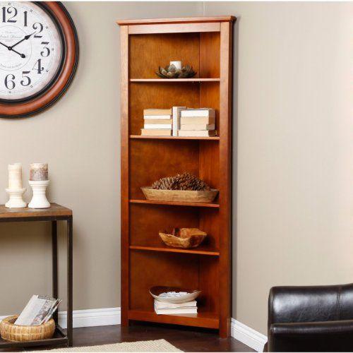 4 Shelf Corner Oak Wood Bookcase For Office Den TV Room Or Study   Http: