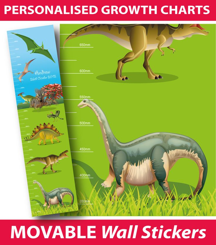 Personalised Dinosaurs Height Chart Wall Sticker, - Buy direct from the printers and SAVE!  FREE Gift with every purchase. $24.99 (http://www.wholesaleprinters.com.au/personalised-dinosaurs-height-chart-wall-sticker/)