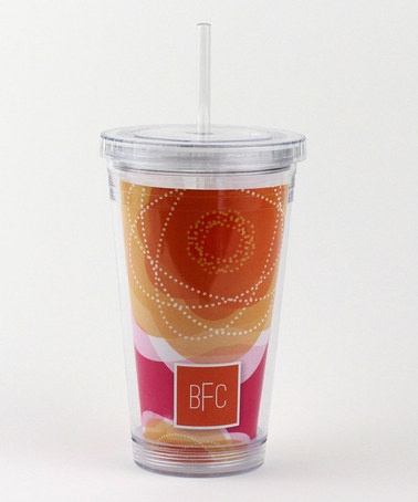 Take a look at this Pretty Pink Bloom Monogram 16-Oz. Tumbler by Spark & Spark on #zulily today!