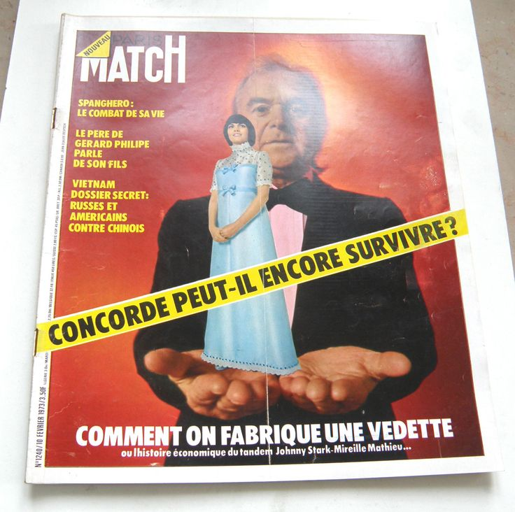 REVUE PHOTO PARIS MATCH N°1240 FEV 1973 JOHNNY STARK / MIREILLE MATHIEU