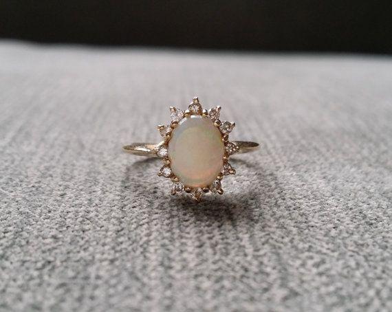 Antique Opal Diamond Ring Edwardian by PenelliBelle