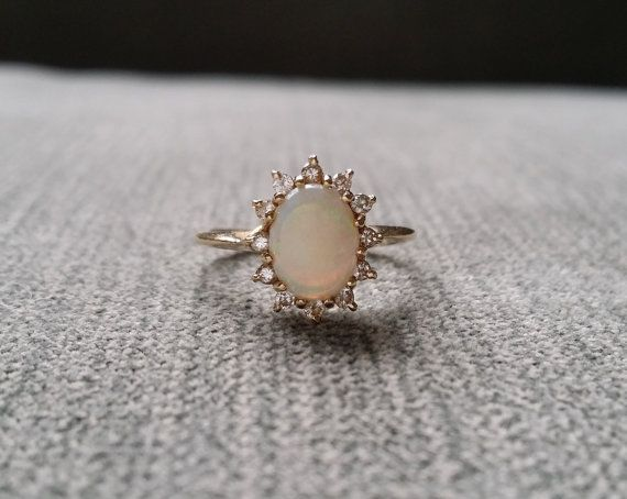 Antique Opal Diamond Engagement Ring Edwardian Victorian Filigree Art Nouvea Art Deco Setting 14K Yellow Antique Gold size 4.25