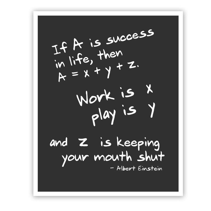 Math Success Quotes: Albert Einstein Quote, Math Art Print, Wall Art