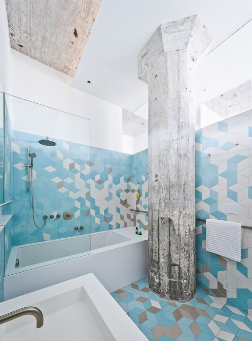 A Work In Progress This Brooklyn Apartment By Sabo Project Plays With Blocks Both Figuratively Tiled Bathroomsdream Bathroomsblue