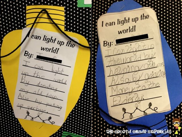 I can light up the world! Bulletin board writing idea!