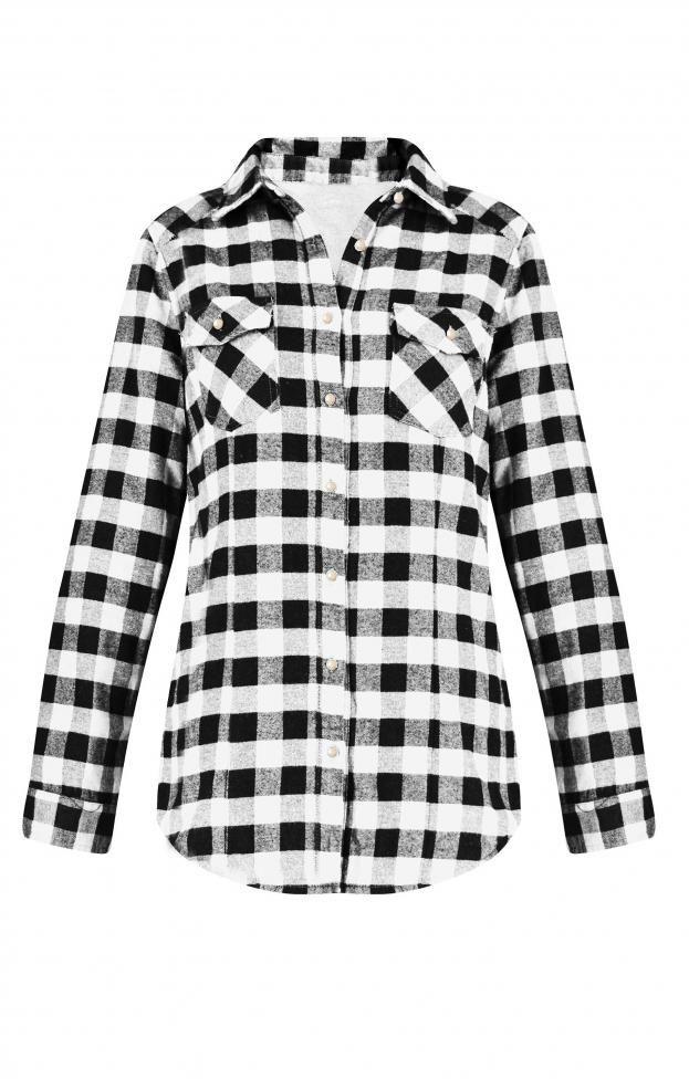 Γυναικείο πουκάμισο με επένδυση POUK-1640-wh Γυναίκα-Μπλούζες και πουκάμισα