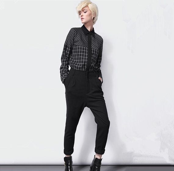 Plaid shirt for women with black collar from BWG studios.