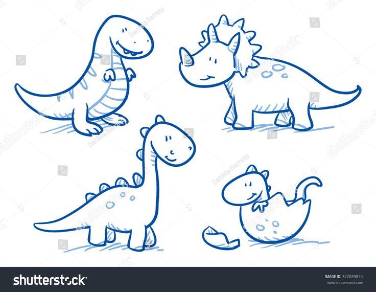 Cute little cartoon dinosaur babies for children, hand drawn vector doodle