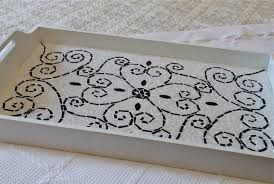 Black and white mosaic tray with geometric design. Would love to do something similar to this!