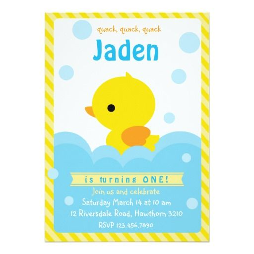 396 best Duck Birthday Party Invitations images – Invite Birthday Card